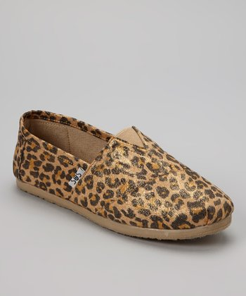 Tan Leopard Shimmer Slip-On Shoe