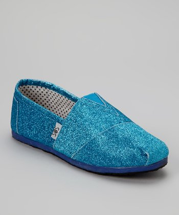 Blue Glitter Slip-On Shoe