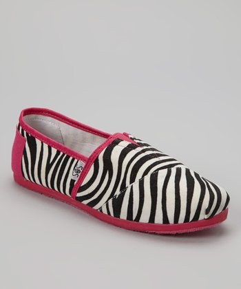 Black & Pink Zebra Slip-On Shoe