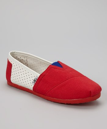 Red & White Perforated Panel Slip-On Shoe