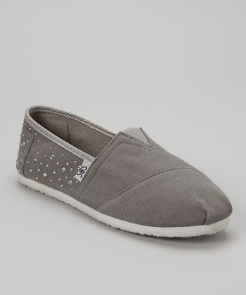 Gray Rhinestone Slip-On Shoe