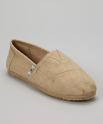 Dark Beige Woven Slip-On Shoe