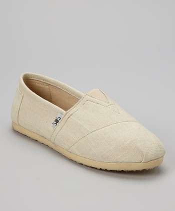 Beige Woven Slip-On Shoe