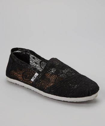 Black Lace Slip-On Shoe
