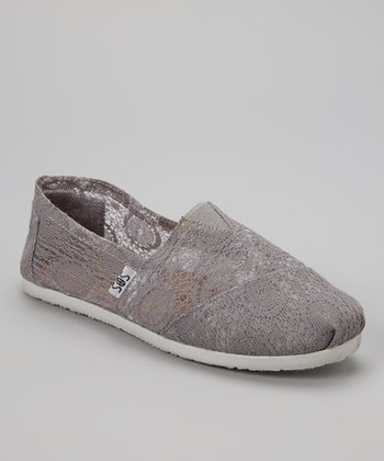 Gray Lace Slip-On Shoe