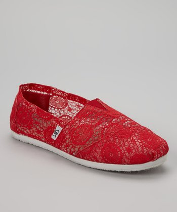Red Lace Slip-On Shoe