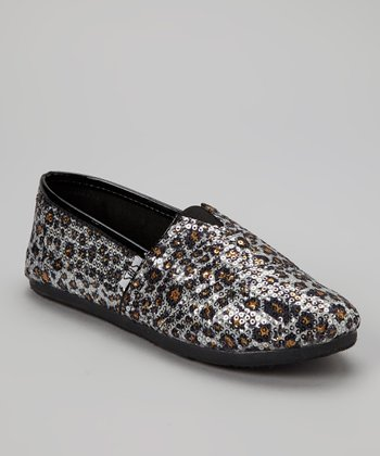 Beige Leopard Sequin Slip-On Shoe