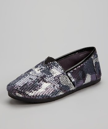 Gray Camo Sequin Slip-On Shoe