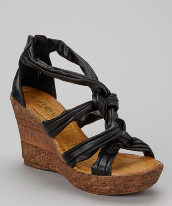 Black Braided Wedge