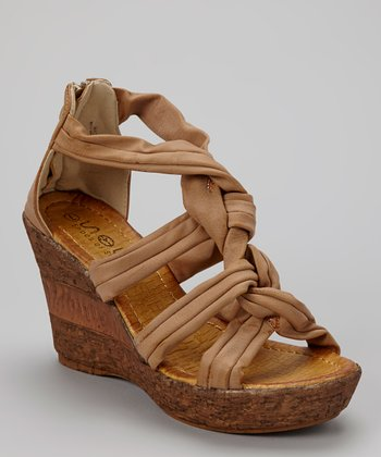 Beige Braided Wedge