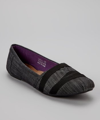 Black & Gray Textured Slip-On Shoe