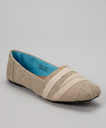 Beige Textured Slip-On Shoe