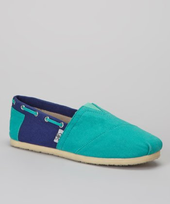 Turquoise & Navy Color Block Slip-On Shoe