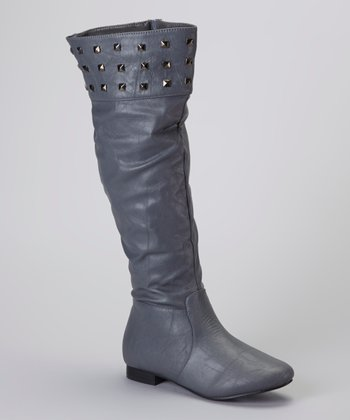 Gray Studded Boot
