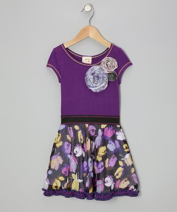 Purple Bouquet Dress - Toddler