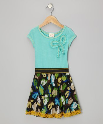 Seafoam & Green Rose Dress - Toddler & Girls