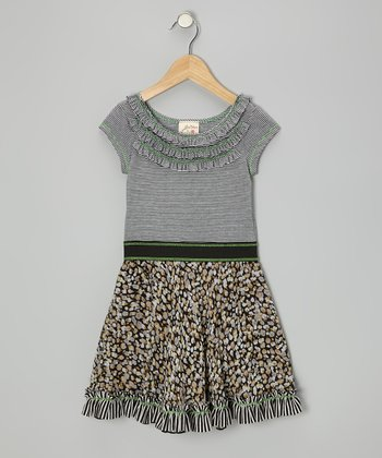 Black & White Ruffle Leopard Dress - Toddler