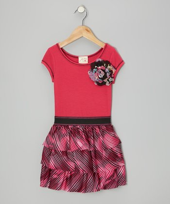 Fuchsia & Pink Tiered Ruffle Dress - Toddler & Girls