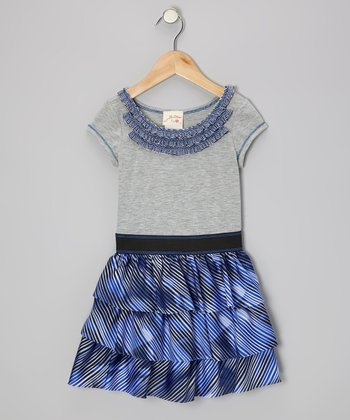 Heather Gray & Blue Ruffle Dress - Toddler & Girls