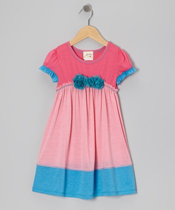 Pink & Turquoise Bouquet Dress - Girls