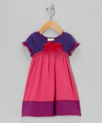 Fuchsia & Purple Bouquet Dress - Girls