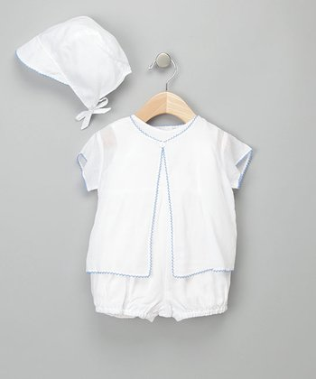 White & Blue Romper Set - Infant