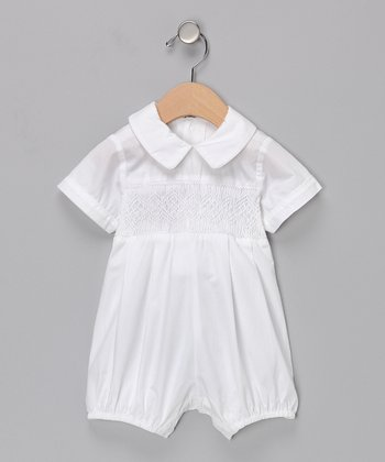 White Smocked Romper - Infant