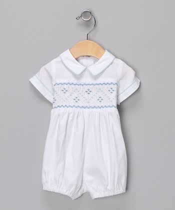 White & Blue Smocked Romper - Infant