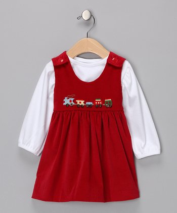 Red Train Tee & Corduroy Jumper - Infant
