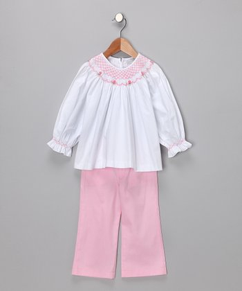 White Smocked Top & Petal Pink Pants - Infant & Girls