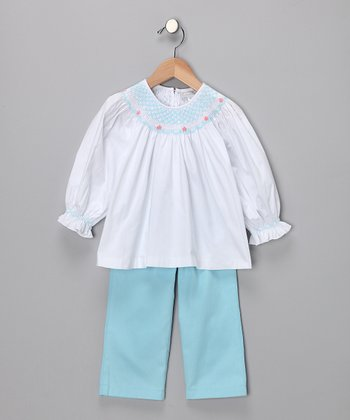 White Smocked Top & Teal Pants - Infant, Toddler & Girls