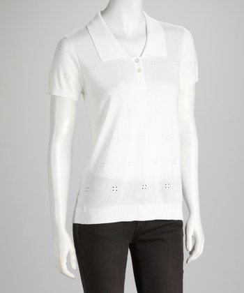 UV White Eyelet Henley