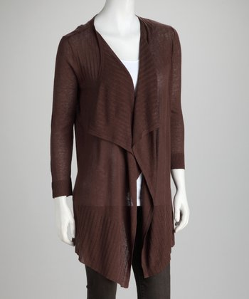 Everglade Brown Drape Linen-Blend Open Cardigan