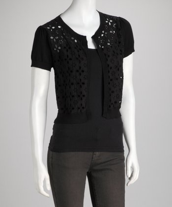 Black Eyelet Open Cardigan