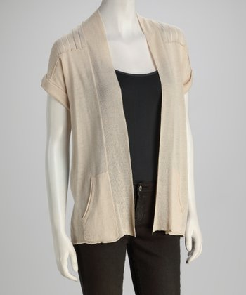 Ash Blonde Pocketed Linen-Blend Open Cardigan