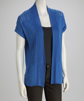 Blue Crayon Pocketed Linen-Blend Open Cardigan