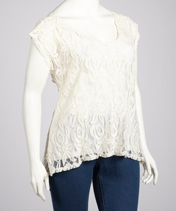 Ivory Sheer Lace Hi-Low Top - Plus