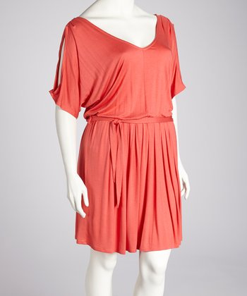 Coral Cutout Dress - Plus