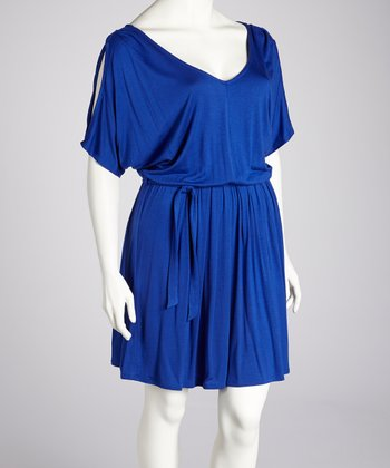 Royal Blue Cutout Dress - Plus