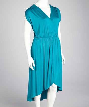 Jade Surplice Hi-Low Dress - Plus