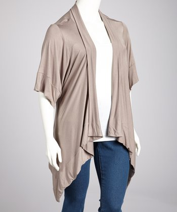 Taupe Sidetail Open Cardigan  - Plus