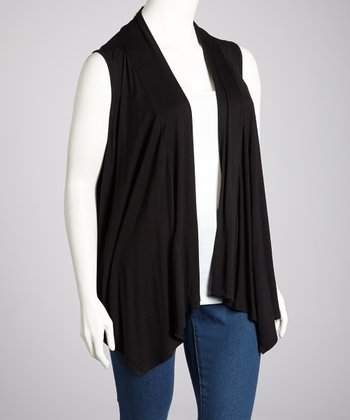 Black Open Vest - Plus