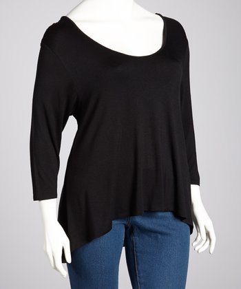 Black Three-Quarter Sleeve Hi-Low Top - Plus