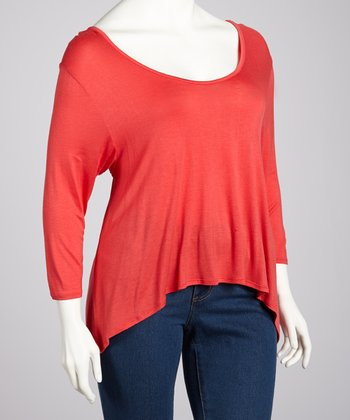 Coral Three-Quarter Sleeve Hi-Low Top - Plus