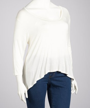 Ivory Three-Quarter Sleeve Hi-Low Top - Plus