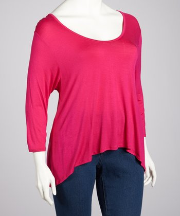 Magenta Three-Quarter Sleeve Hi-Low Top - Plus