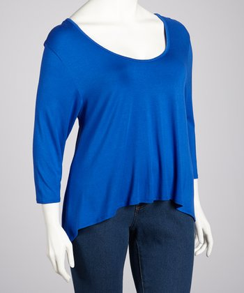 Royal Blue Three-Quarter Sleeve Hi-Low Top - Plus