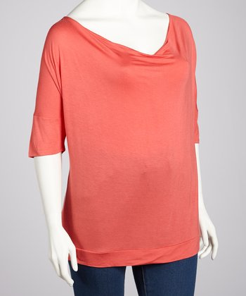 Dark Coral Cowl Neck Top - Plus