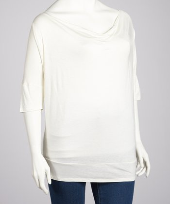 Ivory Cowl Neck Top - Plus