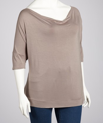 Taupe Cowl Neck Top - Plus